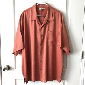 Tommy Bahama 100% Silk Coral Short Sleeve Shirt